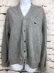 Vintage-IZOD-of-London-LACOSTE-Grandpa-Gray-Cardigan-Sweater-Medium-1970-039-s