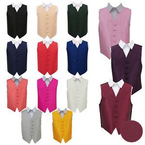 DQT-Boys-Waistcoat-Woven-Plain-Solid-Check-Wedding-Tuxedo-Vest-All-Sizes