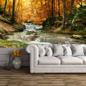 Image Is Loading Waterfall Autumn Trees Wall Mural Forest Photo Wallpaper