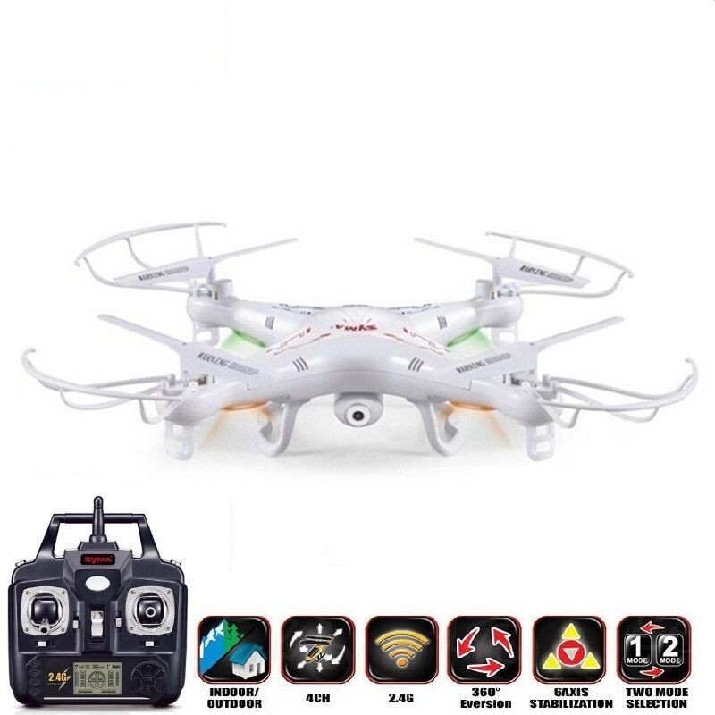 RC Drone Quadcopter 2MP HD Camera 6 Axis Remote Control Helicopter SYMA X5C Set