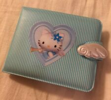 RETRO VINTAGE Hello Kitty Wallet Sanrio Angel Kitten Baby Blue Plastic Pinstripe