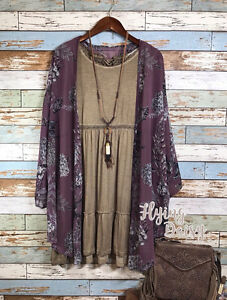 Womens Plus Size Floral Kimono Cardigan Jacket Top Purple Plum ...