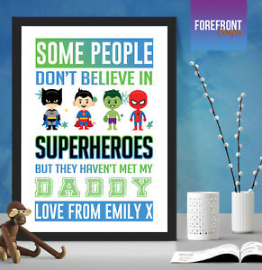Personalised-FATHER-039-S-DAY-superhero-print-gift-DADDY-DAD-GRANDPA-keepsake-A4-A3