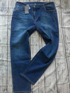 Nosecret-Jeans-Ladies-Pants-Blue-Blue-Size-42-to-54-618-plus-Size-Large-Size