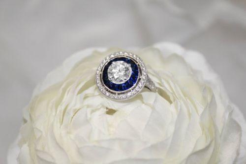 Antique Art Deco Blue Sapphire White Diamond Vintage Engagement Wedding Ring