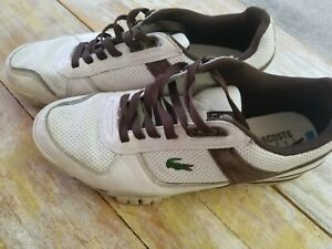 LACOSTE-SPORT-Men-039-s-White-amp-Brown-Sneakers-Size-10-5