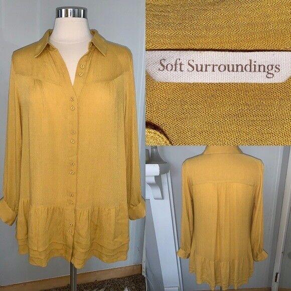 Soft Surroundings mustard yellow tunic blouse Sz M - image 2