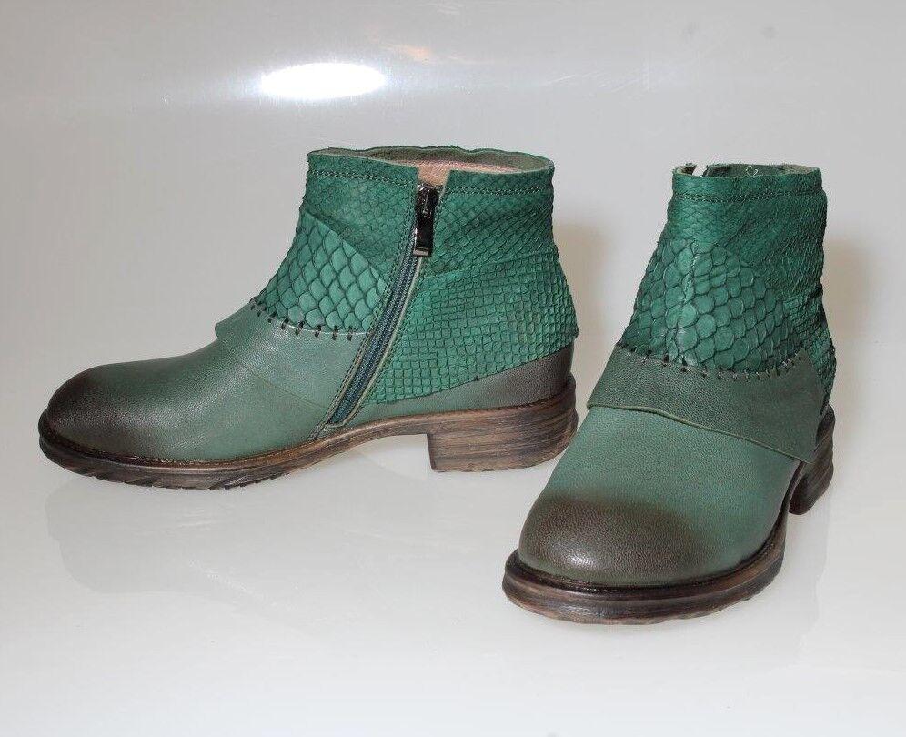 -40% señoras botín de cuero 40 41 carpas-salmón-pescado botas de cuero verde Heart