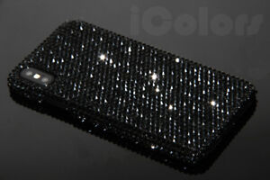 Black-Bling-Diamond-Case-Cover-For-iPhone-X-XR-XS-Max-7-8-WITH-SWAROVSKI-ELEMENT