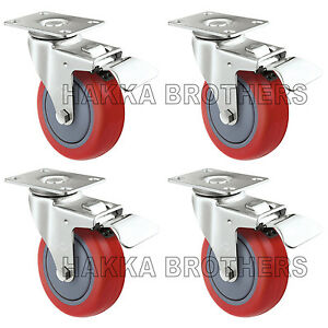 "4 Pack Caster Wheels Polyurethane Base with Top Plate & Bearing 3"" Brake"