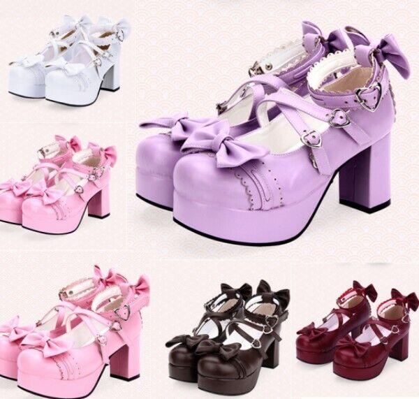 Many Jane Lolita donna High Block Heel scarpe Platform Buckle Strap Bowknot Decor