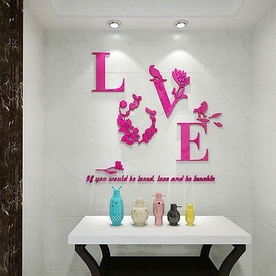 Flower NEW Removable 3D Mirror Quote Wall Sticker Decal Mural Home Room Decor