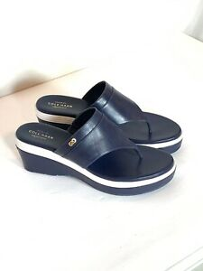 Cole-Haan-Signature-Cecily-Grand-Blue-Leather-Wedge-Thong-Sandals-Size-9B
