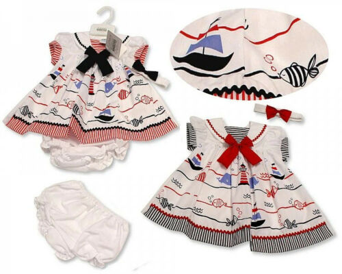 Baby Girls Summer Dress Set Headband Pant Bow Nautical Fish  0-6M Red Navy