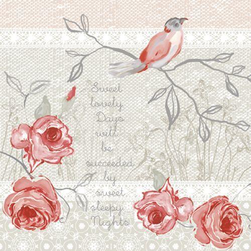 20 Paper Napkins MEMORABLE BIRD Decoration Birds Spring Decoupage 33x33cm