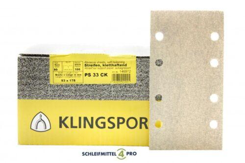 00 Klingspor Schleifblätter 93 x 178 mm Korn 120 /_ PS33CK klett weiß