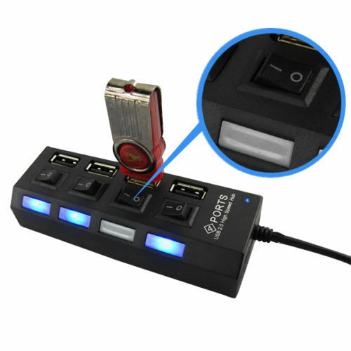 2X LED 4 Port USB 2.0 Hub High Speed Power On//Off Button Switch for Laptop PC KY