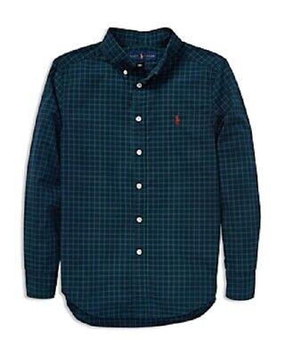 XL 18-20 Ralph Lauren Polo Boys Checked Cotton Poplin Plaid Shirt