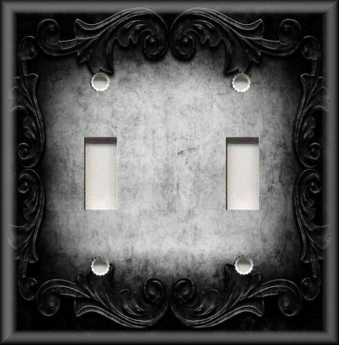 Metal Light Switch Plate Cover - Victorian Gothic Decor - Ornate Frame Dark Grey