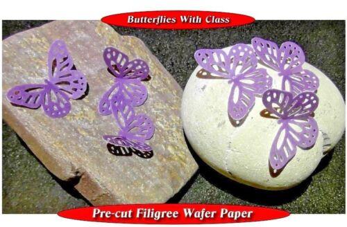 15 Pre-Cut Filigree butterflies Purple edible wafer paper cupcake topper