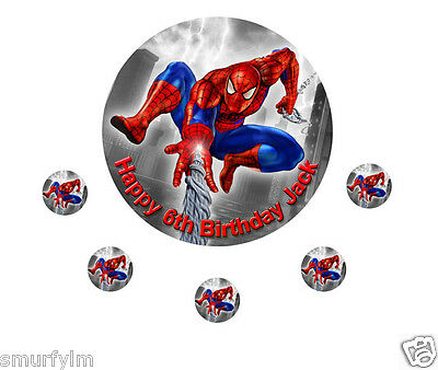 """Spiderman birthday cake topper cercle comestibles sucre glace feuille 7,5 /""""b /& r"""