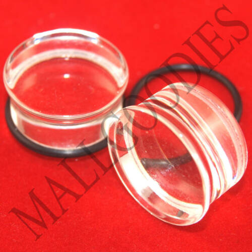 """2pcs 1339 Acrylic Single Flare Clear 1/"""" One inch Plugs 25mm MallGoodies 1 Pair"""