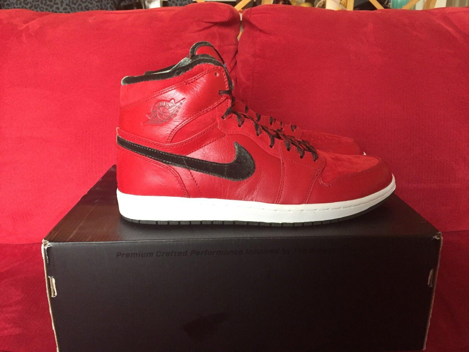Nike Air Jordan 1 Retro High Premier 10.5 New DS 332134 631 OG Red Velour KD SB