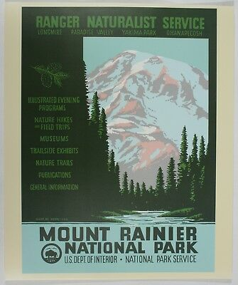 Mount Rainier National Park Poster WPA-style Art Print Original
