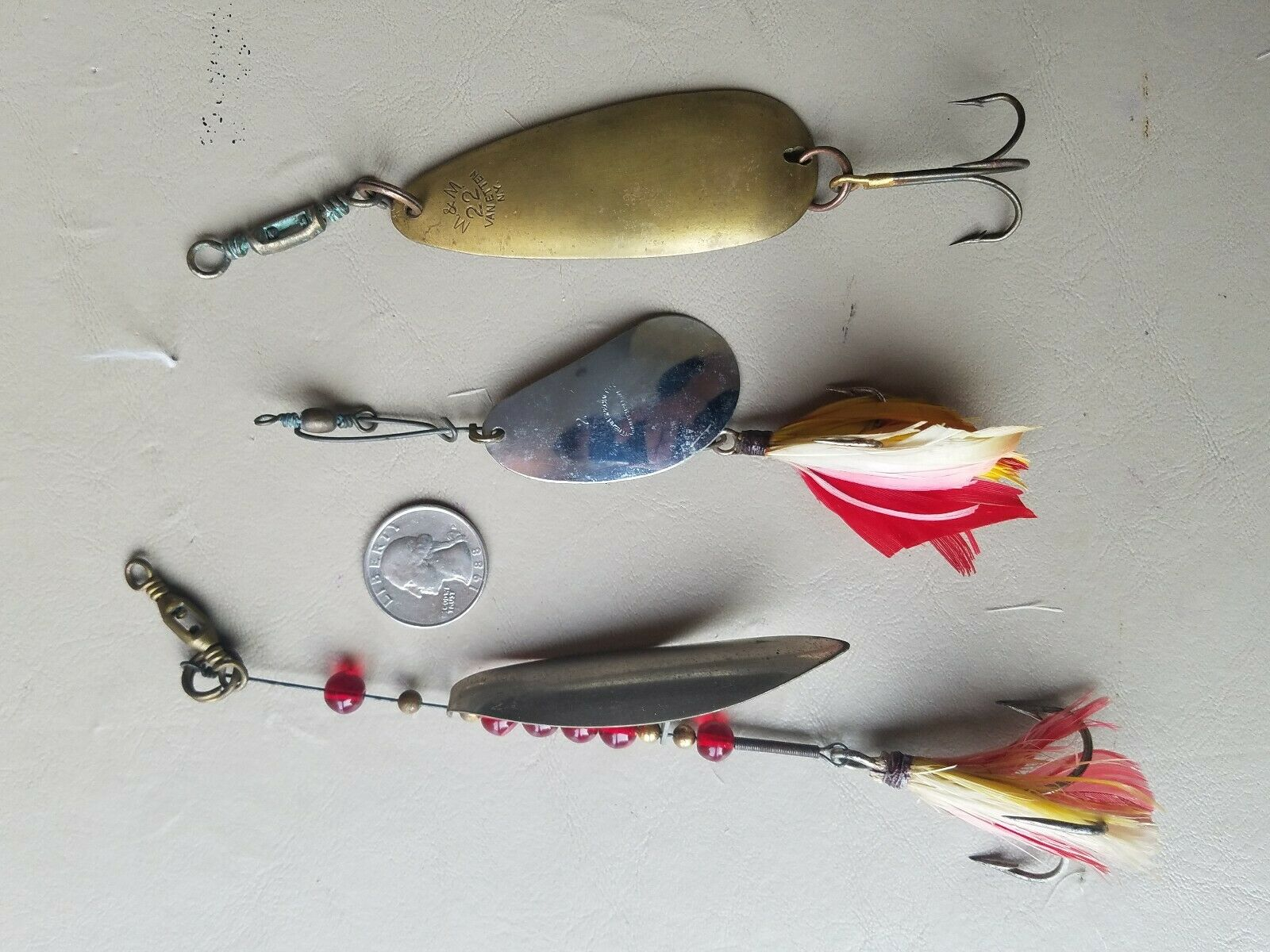 Lot of 3 NY Vintage Metal Spinner Fishing Lures Miller M&M Northern Specialty