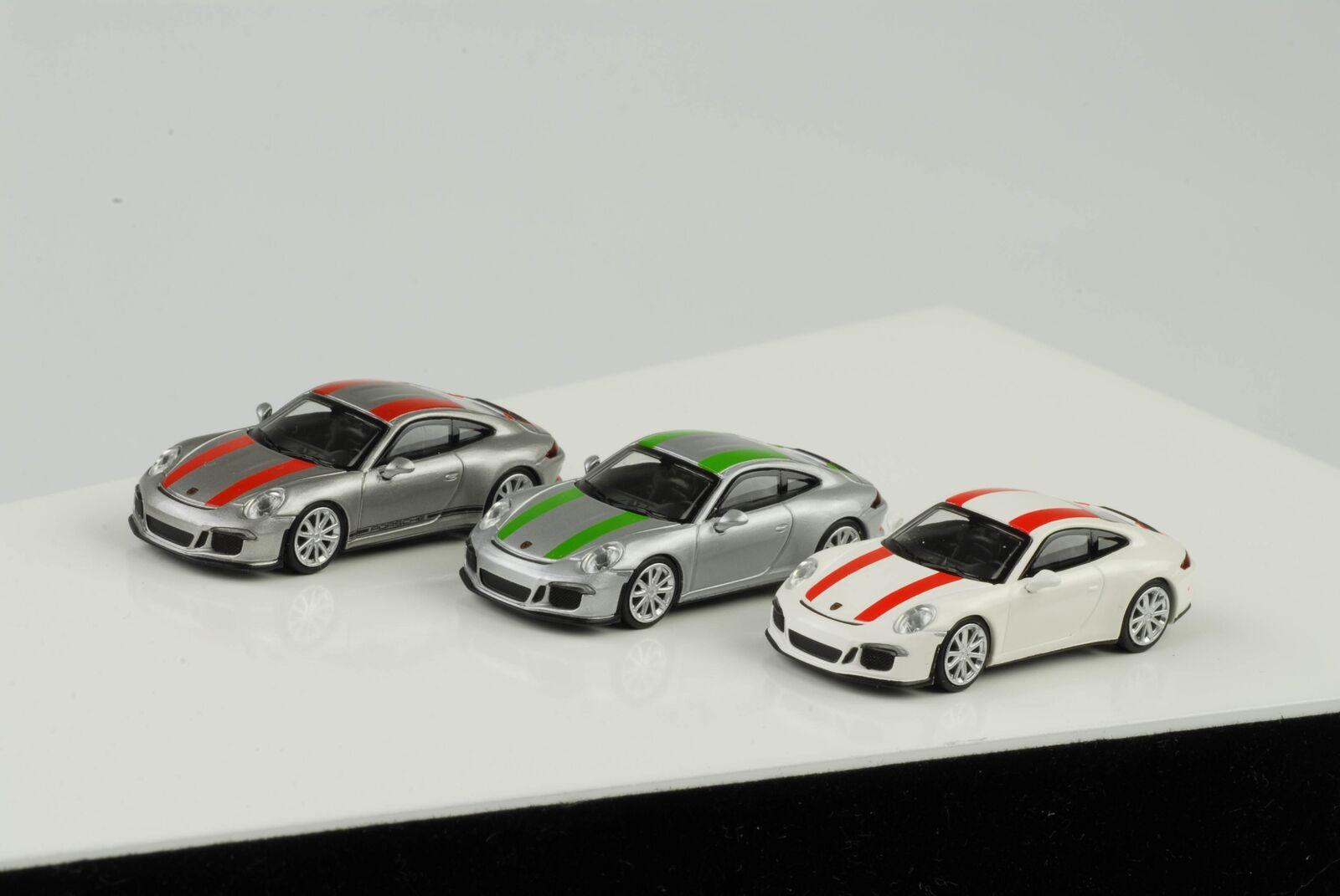 3 x 2016 Porsche 911 R 911R Bianco argentoo verde Rosso Strisce 1 87 Minichamps