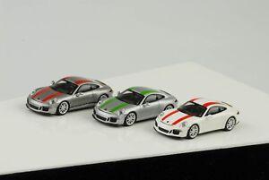 3x-2016-Porsche-911R-911R-Blanco-Plata-Verde-Rojo-Rayas-1-87-Minichamps