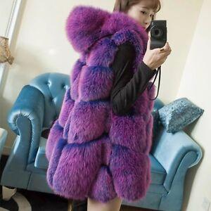 Purple Thick Hooded Long Women's Luxury Big Sleeveless Oversized Vest Fur A7xqB