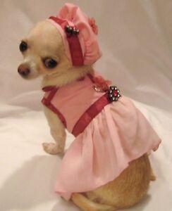 Dog-Harness-Dress-Dog-Dress-Dog-Clothes-Pink-Flirt-Size-XS-M-or-L-FREE-SHIP