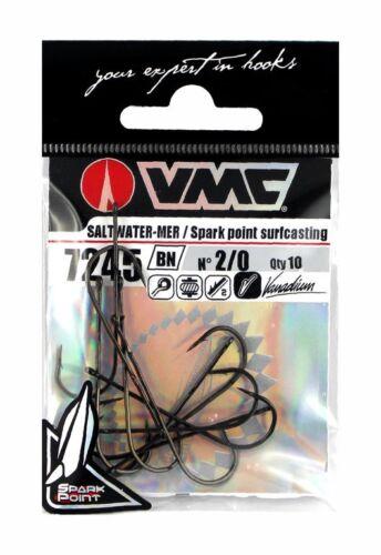 VMC 7245BN Spark Point Surfcasting Einzelhaken Größe 8-2//0 Plattfischhaken