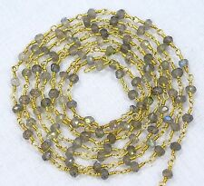 5 Feet Natural LABRADORITE Gemstone Faceted Beads Gold Plated Chain For Sale Lot