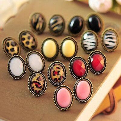 Women Lady Lovely Jewelry Vintage Style Big Rhinestone Elliptic Earrings Ear Stu