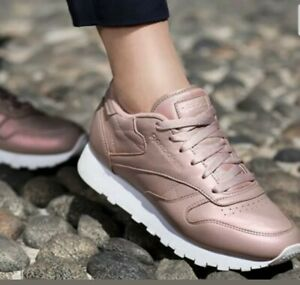 Reebok Classic Leather Rose Gold Pearlised Trainers Sneakers Size 5