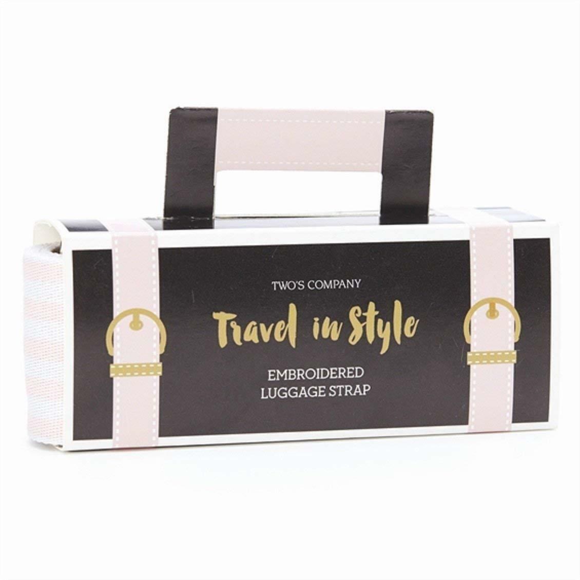Voyage dans le style rose pâle & blanc or Bagages avec Brodé Bagages or Sangle 51737-20 ffd0bf
