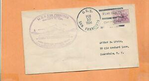 U. S. S. San Francisco Primer Día Comisión Feb 10,1934 Naval Cubierta