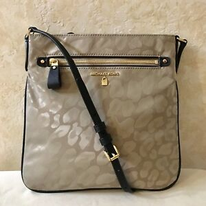 70c91cd992da5d MK Michael Kors Kelsey Large Leopard Nylon Cross body Bag Truffle ...