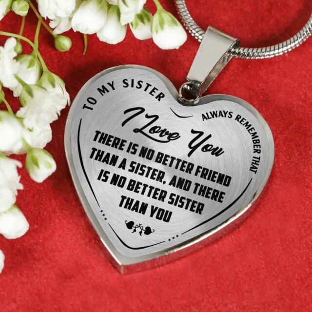 To My Sister Necklace Heart Pendant chain Gift from Brother - I Love You Jewelry