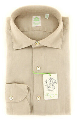 2018022832 Extra Slim New $375 Finamore Napoli Beige Solid Shirt