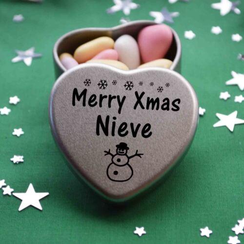 Merry Xmas Nieve Mini Heart Tin Gift Present Happy Christmas Stocking Filler