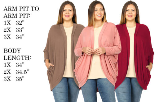 PLUS SIZE WOMENS LOOSE COCOON WRAP SOFT DRAPEY KNITTED DOLMAN TOPS CARDIGAN