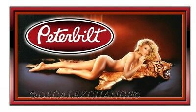 PETERBILT TIGER GIRL STICKER TRUCK DECAL GARAGE LABEL MANCAVE TOOLBOX MADE N USA