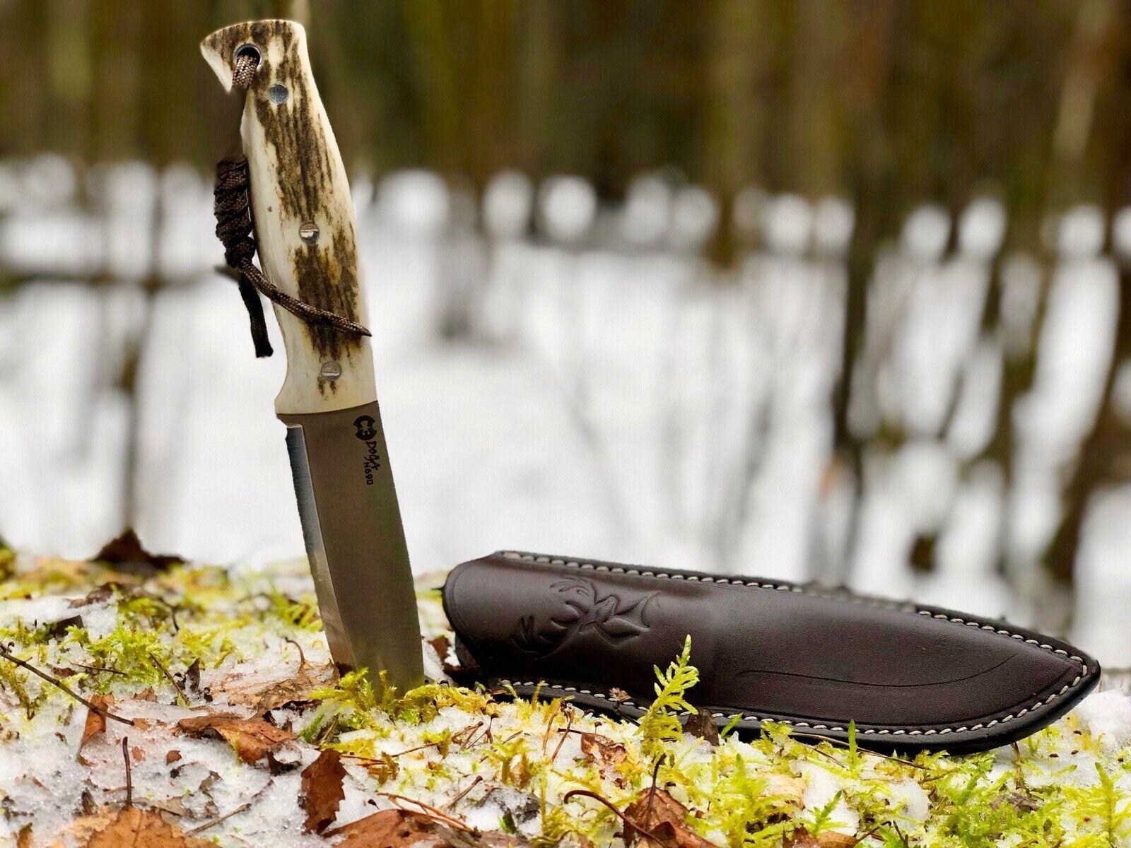 Knife Bushcraft Handmade 59 HRC n690 Böhler Deer Antler Leather Sheath