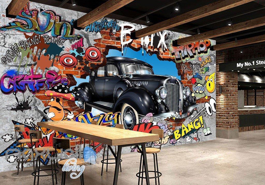 3D Graffiti Vintage Car Break Wall Murals Wallpaper Wall Art Decals Decor