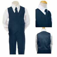 Baby Boy Children Navy Tuxedo Vest Formal Party Easter Suit Born To 7