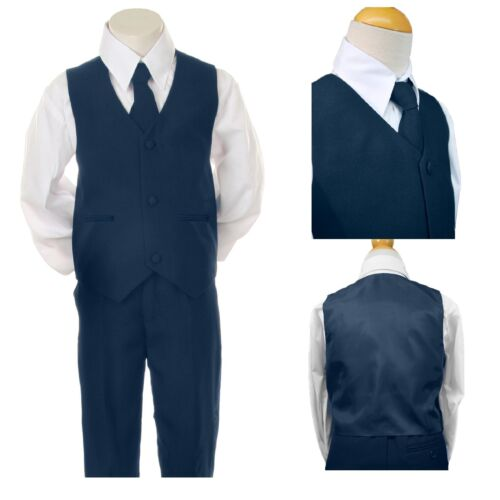 NEW BABY BOY CHILDREN Navy Tuxedo VEST FORMAL PARTY EASTER SUIT New Born to  7