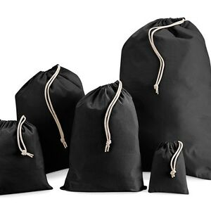 SECONDS-Black-100-calico-canvas-Cotton-Drawstring-Laundry-Gift-Sack-Bag